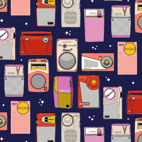 Radio Star* (Jackie Blue) || midcentury modern atomic vintage retro transistor radios music stars fabric by pennycandy on Spoonflower - custom fabric