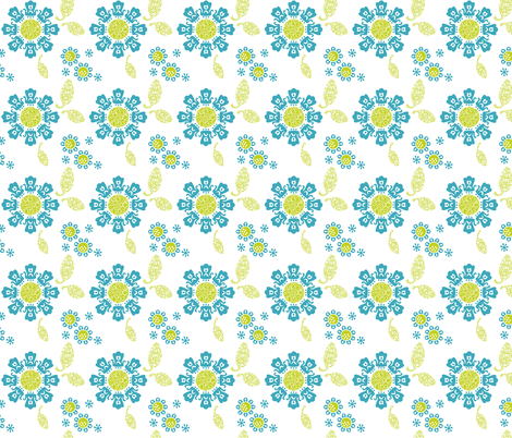 Geek Chapeau ALIEN FLORAL TEAL fabric by gitchyville_stitches on Spoonflower - custom fabric