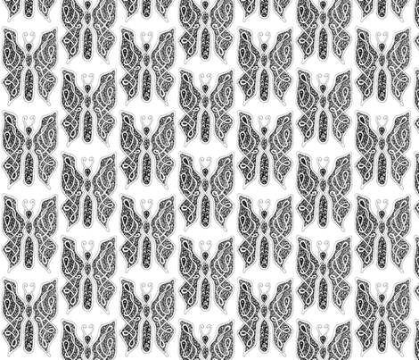 ButterflyDancer - med - black & white fabric by celttangler on Spoonflower - custom fabric