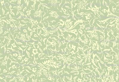 Bird of Paradise French Linen - celadon, ivory