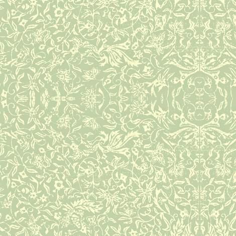 Bird of Paradise French Linen - celadon, ivory fabric by materialsgirl on Spoonflower - custom fabric