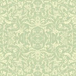 Bird of Paradise French Linen - celadon, ivory
