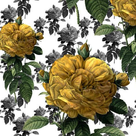 Redoute' Roses ~ Yellow fabric by peacoquettedesigns on Spoonflower - custom fabric
