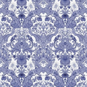 Parrot Damask ~ Blue & White ~ Small