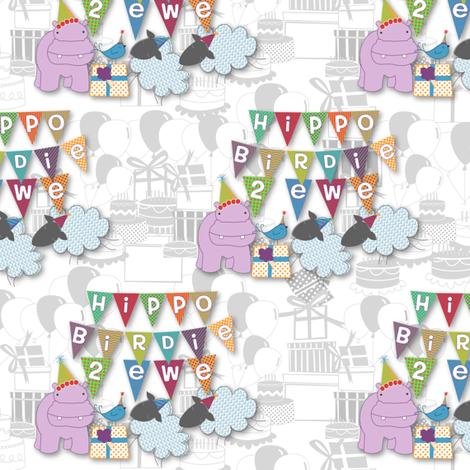 Hippo Birdie Two Ewe! fabric by meg56003 on Spoonflower - custom fabric