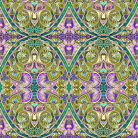 Dig That Lavender (and green) Garden fabric by edsel2084 on Spoonflower - custom fabric