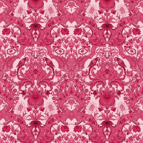 Parrot Damask ~ Cherry Pink