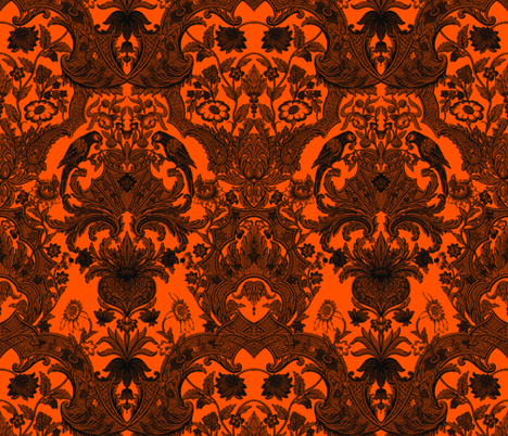 This Is Halloween! Haunted  House Damask ~ Pumpkin fabric by peacoquettedesigns on Spoonflower - custom fabric