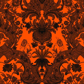 This Is Halloween! Haunted  House Damask ~ Pumpkin