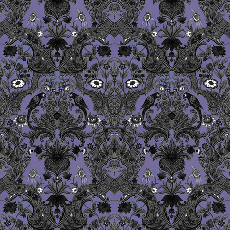 This Is Halloween! Haunted  House Damask ~ Small fabric by peacoquettedesigns on Spoonflower - custom fabric