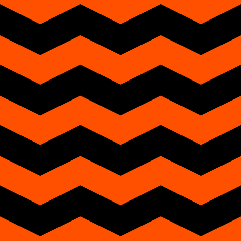 This Is Halloween ~ Black and Orange Chevron fabric by peacoquettedesigns on Spoonflower - custom fabric