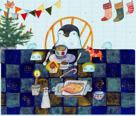 Penguins Christmas dinner fabric by els_vlieger on Spoonflower - custom fabric