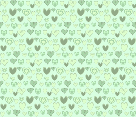 MINT GREEN HEARTS fabric by bluevelvet on Spoonflower - custom fabric