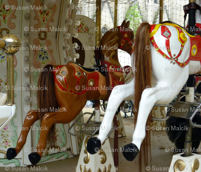 Carousel Horses with Real Horsetails_fq