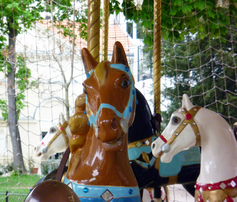 Brown Horse on Carousel fabric by susaninparis on Spoonflower - custom fabric