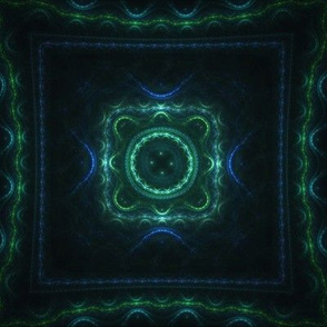 Square Fractal - Green and Blue