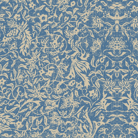 Bird of Paradise - blue and beige linen damask fabric by materialsgirl on Spoonflower - custom fabric