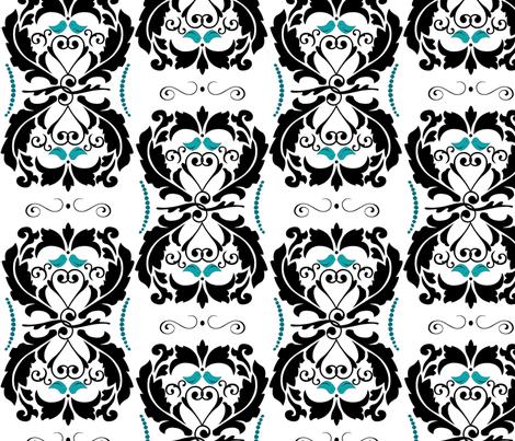 Tiffany Blue Lovebirds Heart Damask fabric by artsycanvasgirl on Spoonflower - custom fabric