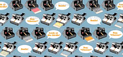 Say Cheese! (Blue)    vintage retro polaroid cameras photography typography text