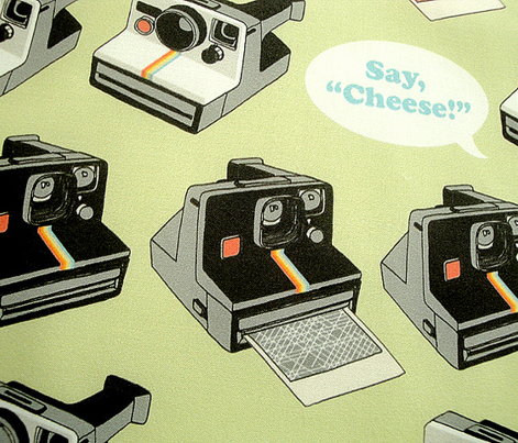 Say Cheese! (Green) || vintage retro polaroid cameras photography typography text