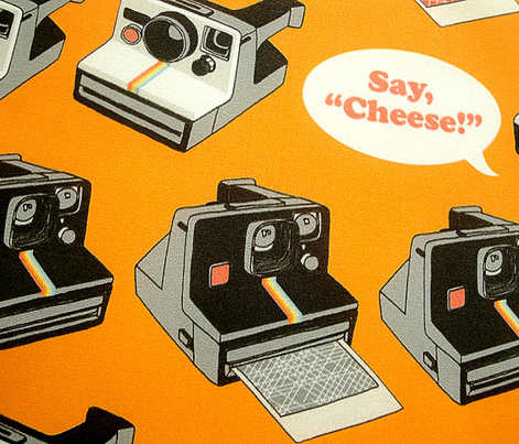 Say Cheese! (Orange) || vintage retro polaroid cameras photography typography text