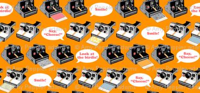 Say Cheese! (Orange) || vintage retro polaroid cameras photography typography text