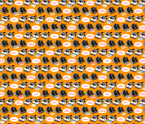 Say Cheese! (Orange) || vintage retro polaroid cameras photography typography text fabric by pennycandy on Spoonflower - custom fabric