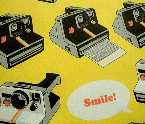 Say Cheese! (Yellow) || vintage retro polaroid cameras photography typography text