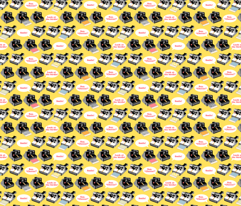 Say Cheese! (Yellow) || vintage retro polaroid cameras photography typography text fabric by pennycandy on Spoonflower - custom fabric