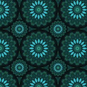 Kaleidoscope 18 - Green and Blue Fractal Flowers
