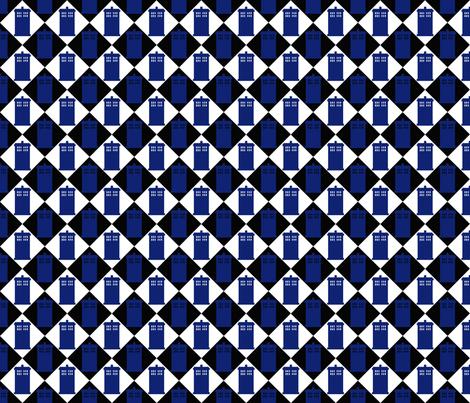 Harlequin Blue Box black 2 fabric by morrigoon on Spoonflower - custom fabric