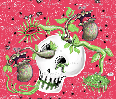 Skull Cachepot w/ Scary Carnivorous Plants!(#1)
