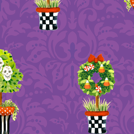 Skull_Topiary_Damask_copy fabric by kelly_a on Spoonflower - custom fabric