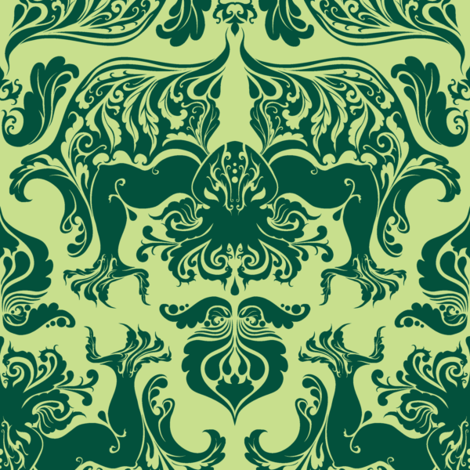 I Love Craft (Cthulhu Damask) Light Green fabric by rosalarian on Spoonflower - custom fabric