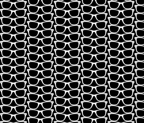 Risky Business (Black Maxi) || nerd geek chic glasses sunglasses retro 80s fashion fabric by pennycandy on Spoonflower - custom fabric