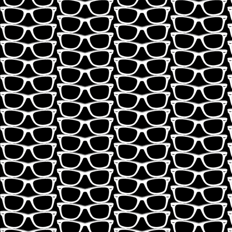 Risky Business (Black Mini) || nerd geek chic glasses sunglasses retro 80s fashion fabric by pennycandy on Spoonflower - custom fabric