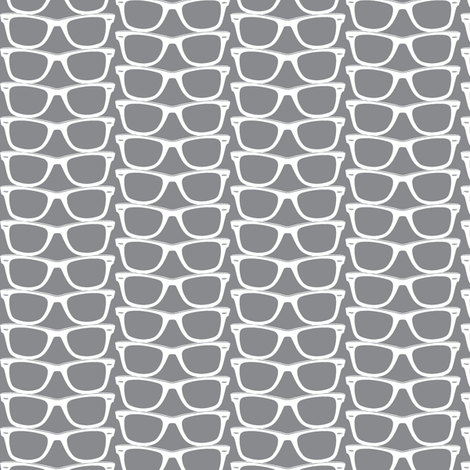 Risky Business (Gray Mini) || nerd geek chic glasses sunglasses retro 80s fashion fabric by pennycandy on Spoonflower - custom fabric