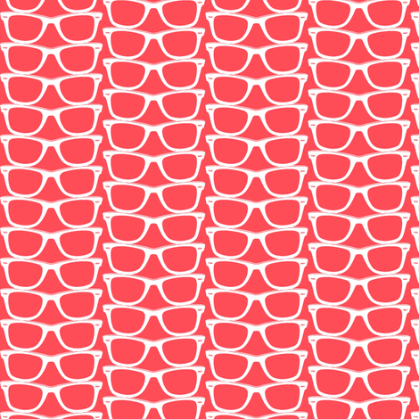 Risky Business (Red Mini) || nerd geek chic glasses sunglasses retro 80s fashion fabric by pennycandy on Spoonflower - custom fabric