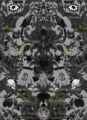 This Is Halloween! Haunted House Damask ~ Cemetery Grey