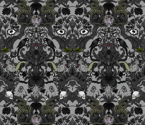 This Is Halloween! Haunted House Damask ~ Cemetery Grey fabric by peacoquettedesigns on Spoonflower - custom fabric