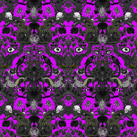 This Is Halloween! Haunted House Damask ~ Lurid Purple fabric by peacoquettedesigns on Spoonflower - custom fabric