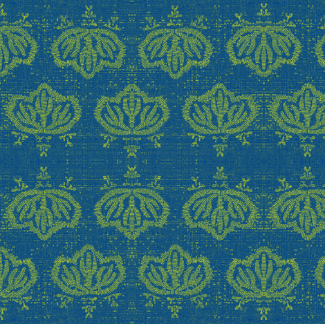 Kiri - blue and green fabric by materialsgirl on Spoonflower - custom fabric