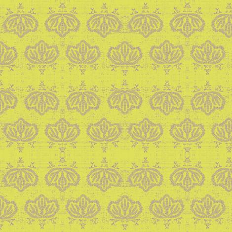 Kiri - lemon & beige fabric by materialsgirl on Spoonflower - custom fabric