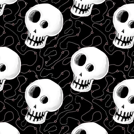 Skull w/Flies and Dot Trails fabric by amy_g on Spoonflower - custom fabric