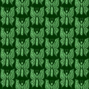 ButterflyDancer - med - deep fir & mint green reverse