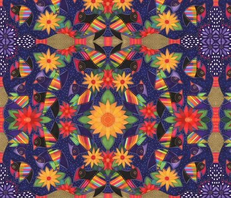 birds and flowers fabric by lita_blanc on Spoonflower - custom fabric
