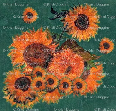 Van Gogh's Sunflowers on Green Canvas