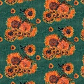 Van Gogh's Sunflowers on Green Canvas