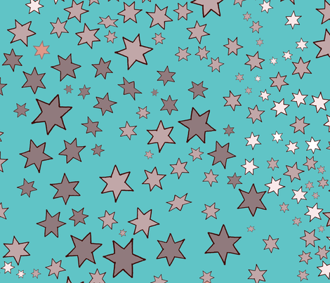 Mucha's Stars Scattered Turquoise fabric by hollycejeffriess on Spoonflower - custom fabric