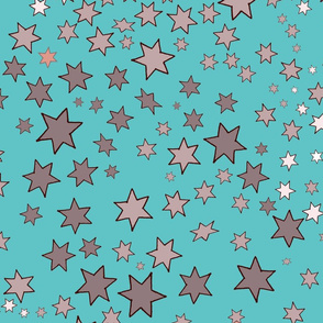 Mucha's Stars Scattered Turquoise